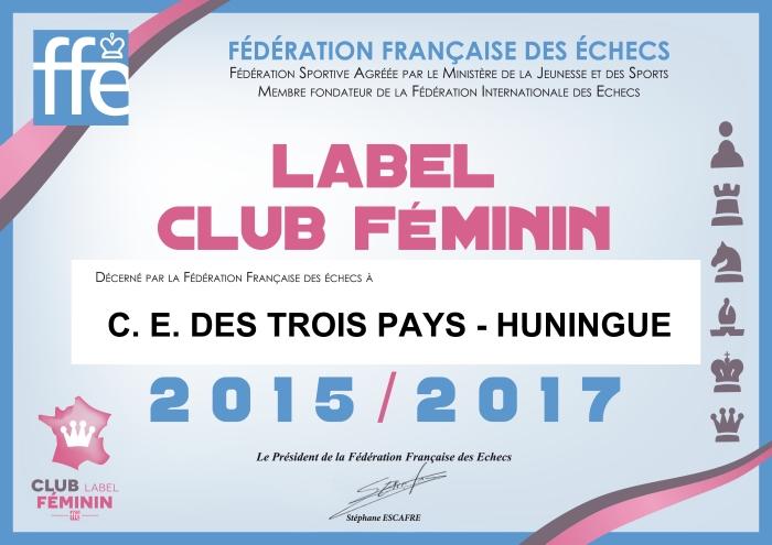 Diplôme LABEL CLUB FEMININ